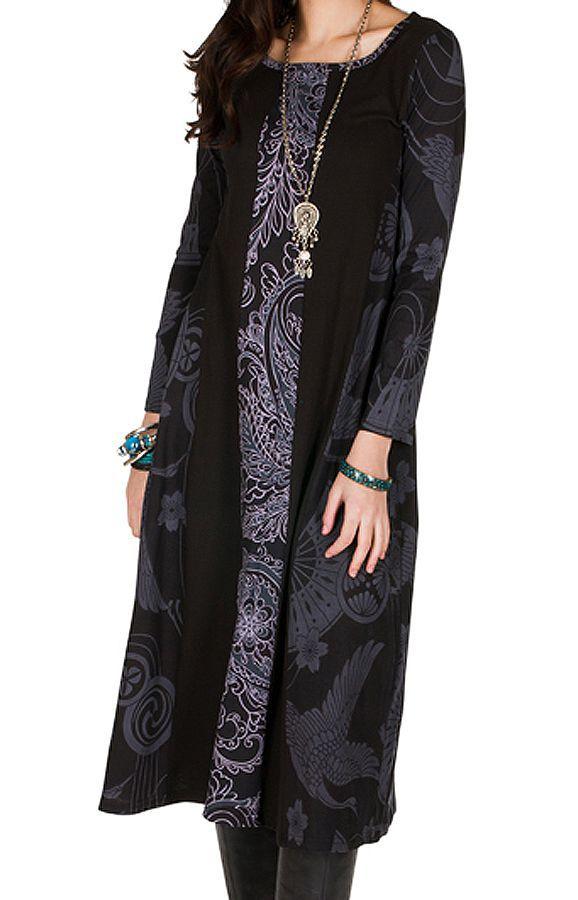Robe longue à fresques imprimés coupe évasée Melissandre 301417