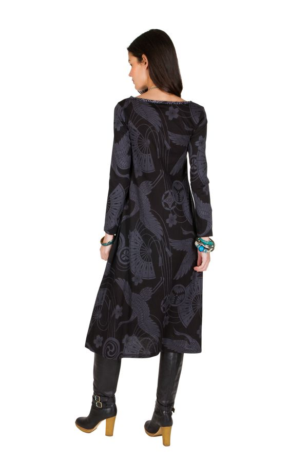 Robe longue à fresques imprimés coupe évasée Melissandre 301420