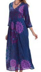 Robe longue à manches 3/4 Originale et Colorée Caloma Bleue 281501