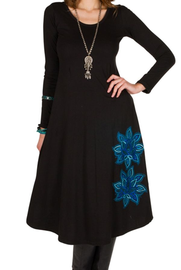 Robe longue à manches longues Noire imprimée avec col rond Addison 300987
