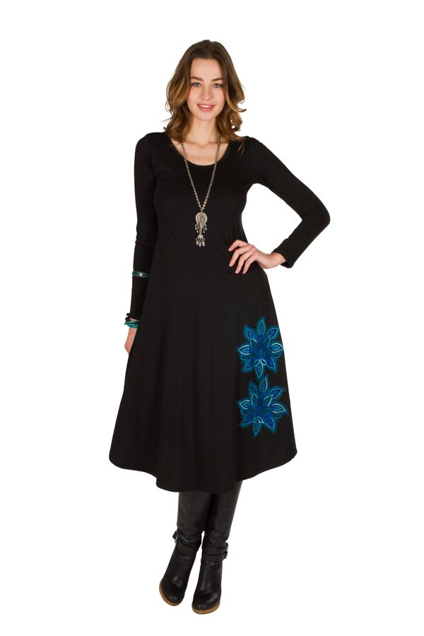 Robe longue à manches longues Noire imprimée avec col rond Addison 300988