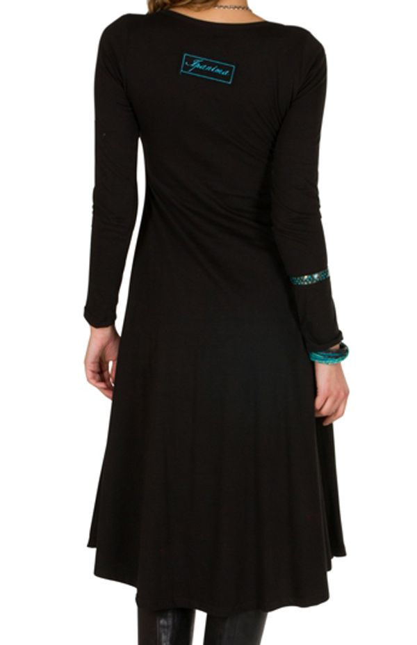 Robe longue à manches longues Noire imprimée avec col rond Addison 300989