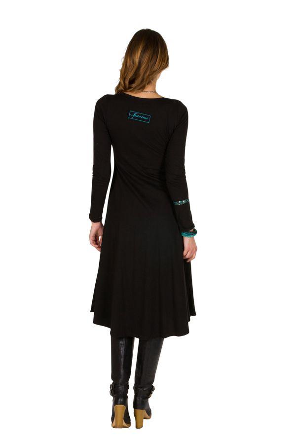 Robe longue à manches longues Noire imprimée avec col rond Addison