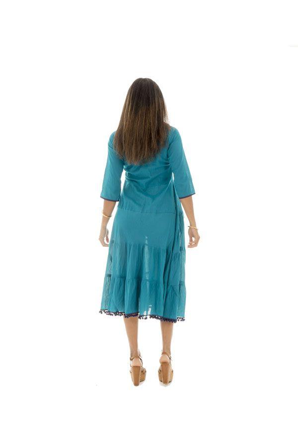 Robe longue à manches longues style bohème Clare 290127