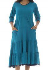 Robe longue à manches longues style bohème Clare 292018