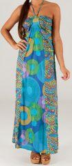 Robe longue à tour de cou Ethnique et Colorée Célia Bleue 279365