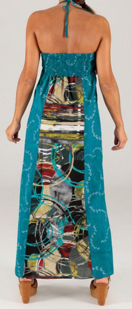 Robe longue à tour de cou Ethnique et Colorée Célia Graphique 279368