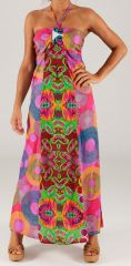Robe longue à tour de cou Ethnique et Colorée Célia Pinky 279371