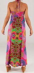 Robe longue à tour de cou Ethnique et Colorée Célia Pinky 279372