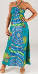 Robe longue à tour de cou Ethnique et Colorée Célia Turquoise 279361