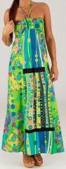 Robe longue à tour de cou Ethnique et Colorée Célia Verte 279363