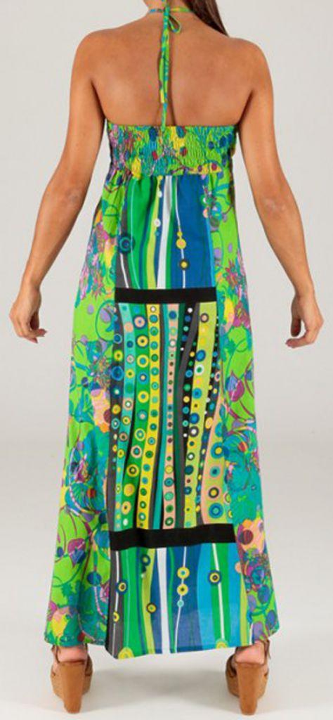 Robe longue à tour de cou Ethnique et Colorée Célia Verte 279364