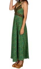 Robe longue ajustée au dos avec un imprimé coloré clémentine