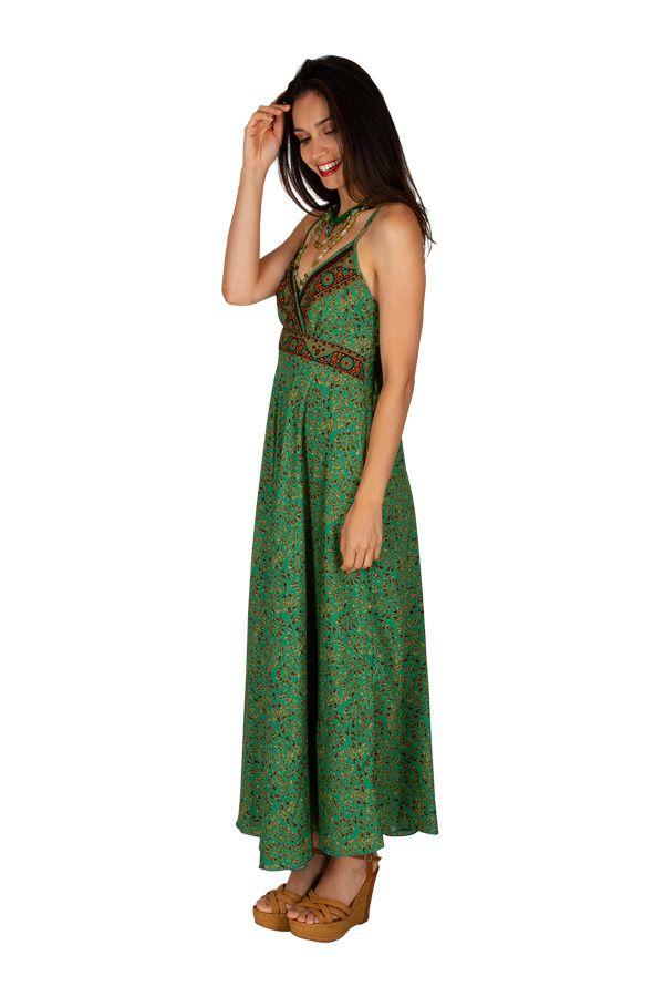 Robe longue ajustée au dos avec un imprimé coloré clémentine 305969