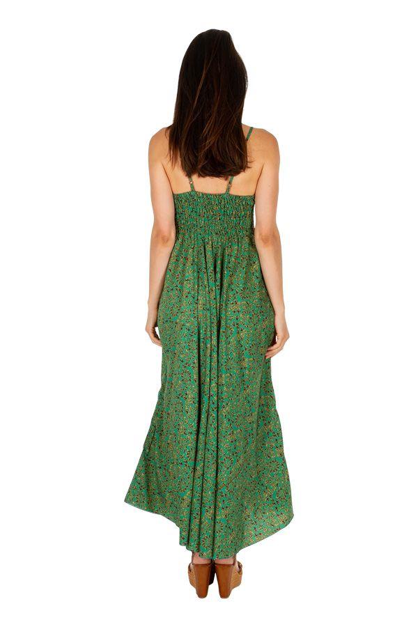 Robe longue ajustée au dos avec un imprimé coloré clémentine 305970