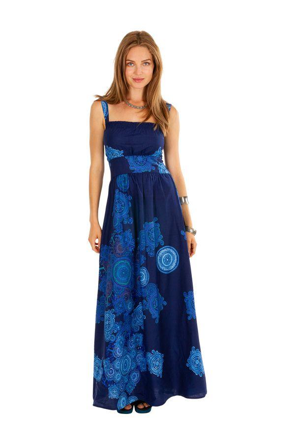 Robe longue ajustée bleue idéale pour une cérémonie Julye 307063