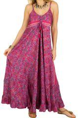 Robe longue ample à fines bretelles et imprimés rose Miranda 293274