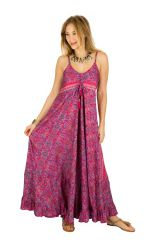 Robe longue ample à fines bretelles et imprimés rose Miranda 293275