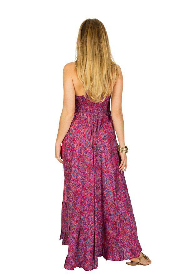 Robe longue ample à fines bretelles et imprimés rose Miranda 293276