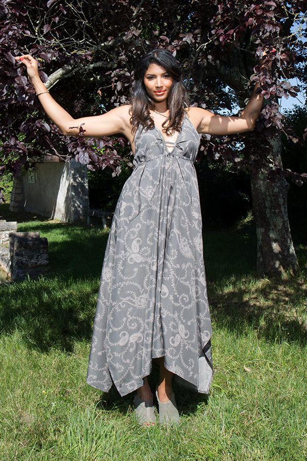 robe longue ample avec col plongeant et fines bretelles Skadi 289776