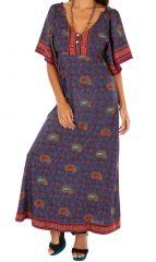 Robe longue ample pour l'été ethnique Massaoua violette 314447