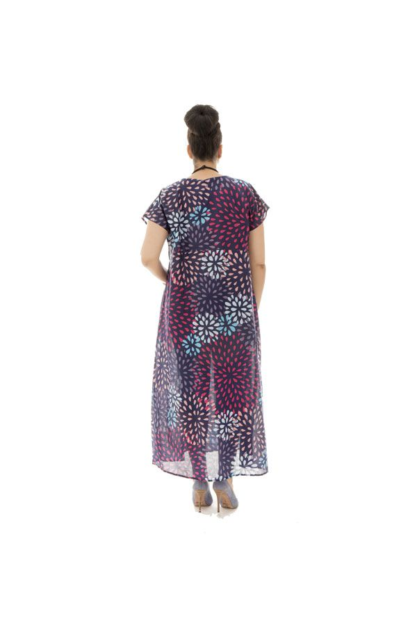 Robe longue ample voile de coton avec col en v Davia 290324