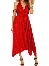 Robe longue asymétrique avec col pigeonnant et imprimés rouge Dolly 293138