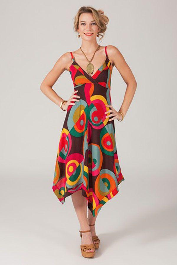 Robe longue asymétrique originale et colorée Opali 318767