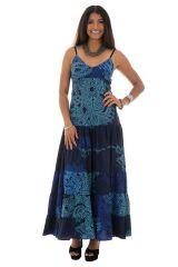 robe longue avec col en v et bretelles fines bleue Moira 289326