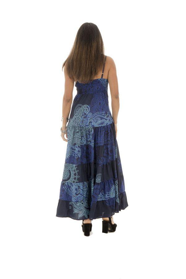 robe longue avec col en v et bretelles fines bleue Moira 289327