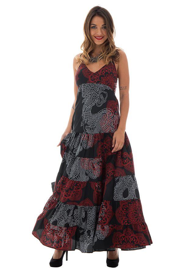 robe longue avec de fines bretelles et ravissant col en v tricolore Bailey 289342