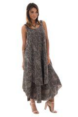 robe longue avec superposition de tissu et motifs ethniques Níniel 289810