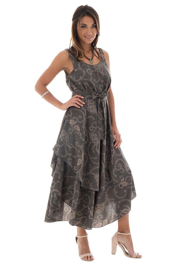 robe longue avec superposition de tissu et motifs ethniques Níniel 289811