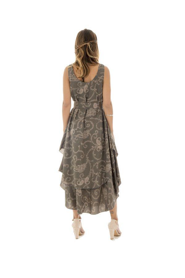 robe longue avec superposition de tissu et motifs ethniques Níniel 289812