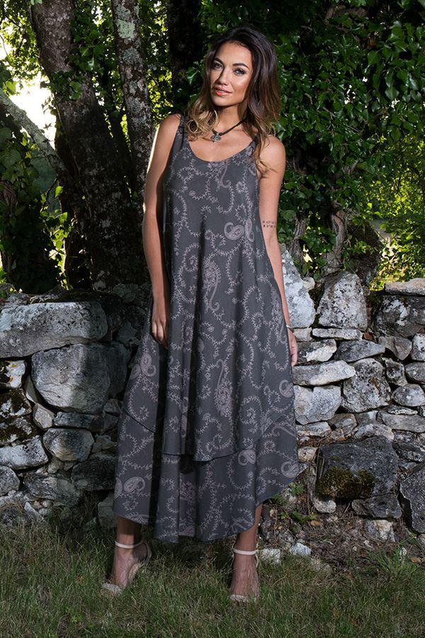 robe longue avec superposition de tissu et motifs ethniques Níniel 289813