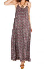 Robe longue avec un imprimé dans un style vintage tendance Luze 306079