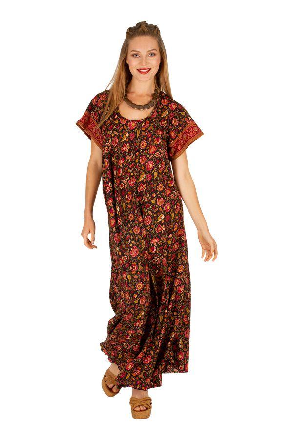 Robe longue avec un imprimé fleuri bohème Souriya 307005