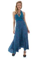 robe longue avec un joli col pigeonnant et lien à nouer bleue Perle 289728