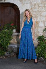 robe longue avec un joli col pigeonnant et lien à nouer Perle 289730