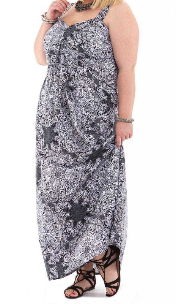 Robe longue Blanche et Noire Grande taille Décolletée Jeanet 284349