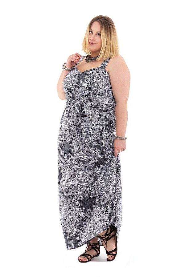 Robe longue Blanche et Noire Grande taille Décolletée Jeanet 284350