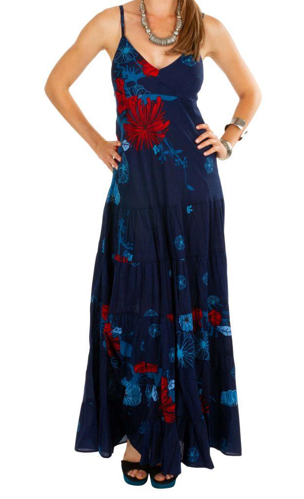 Robe longue bleu marine imprimée floral exotique Emilia