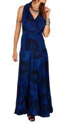 Robe longue bleu roi imprimée pour mariage ou soirée Aly 309462