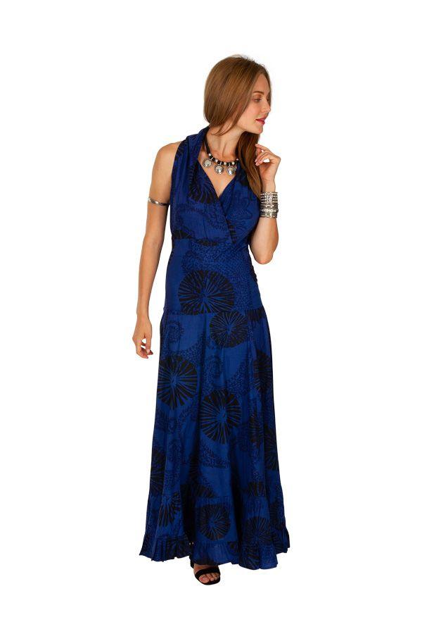 Robe longue bleu roi imprimée pour mariage ou soirée Aly 309463