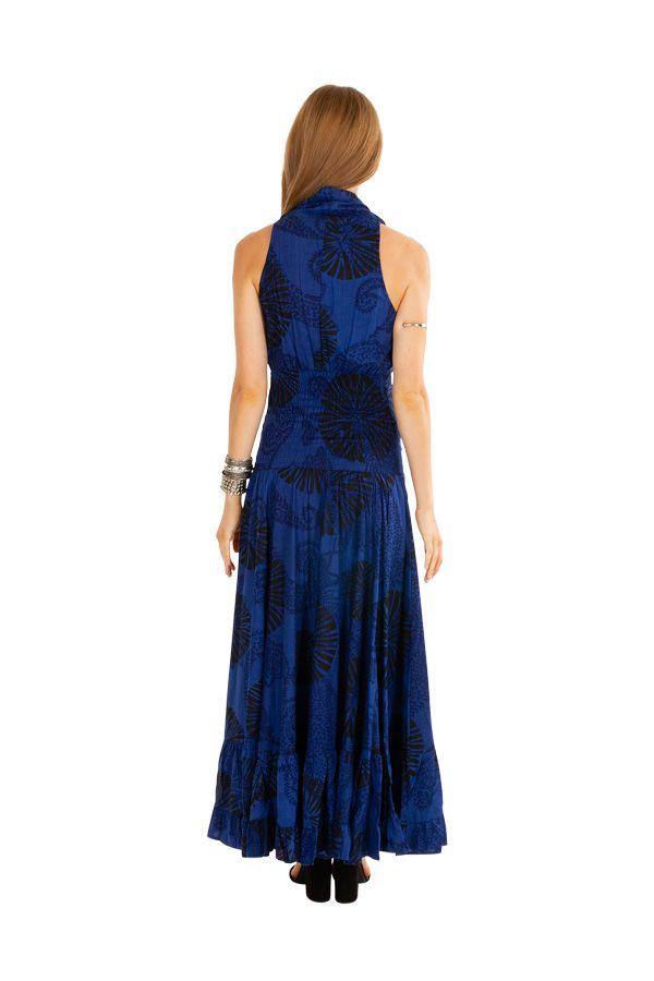Robe longue bleu roi imprimée pour mariage ou soirée Aly 309464