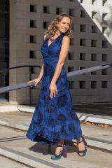 Robe longue bleu roi imprimée pour mariage ou soirée Aly 309465