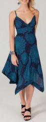 Robe longue bleue asymétrique originale et colorée Opali