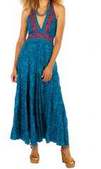 Robe longue bleue cintrée à la taille fluide et agrèable Linou 310363