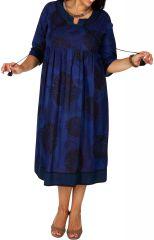 Robe longue bleue en coton femme grande taille Lilly