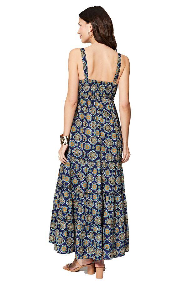 Robe longue bleue imprimé ethnique wax originale pour femme Rhonda